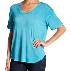 Abound Washed Teal V-Neck Hi-Lo Tee